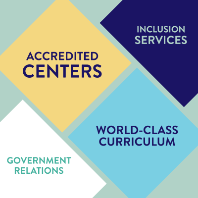 accredited centers, government relations, world-class curriculum