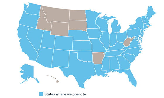 States where we operate