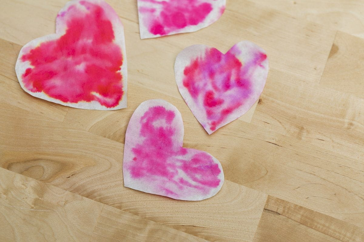 water smudged hearts closeup