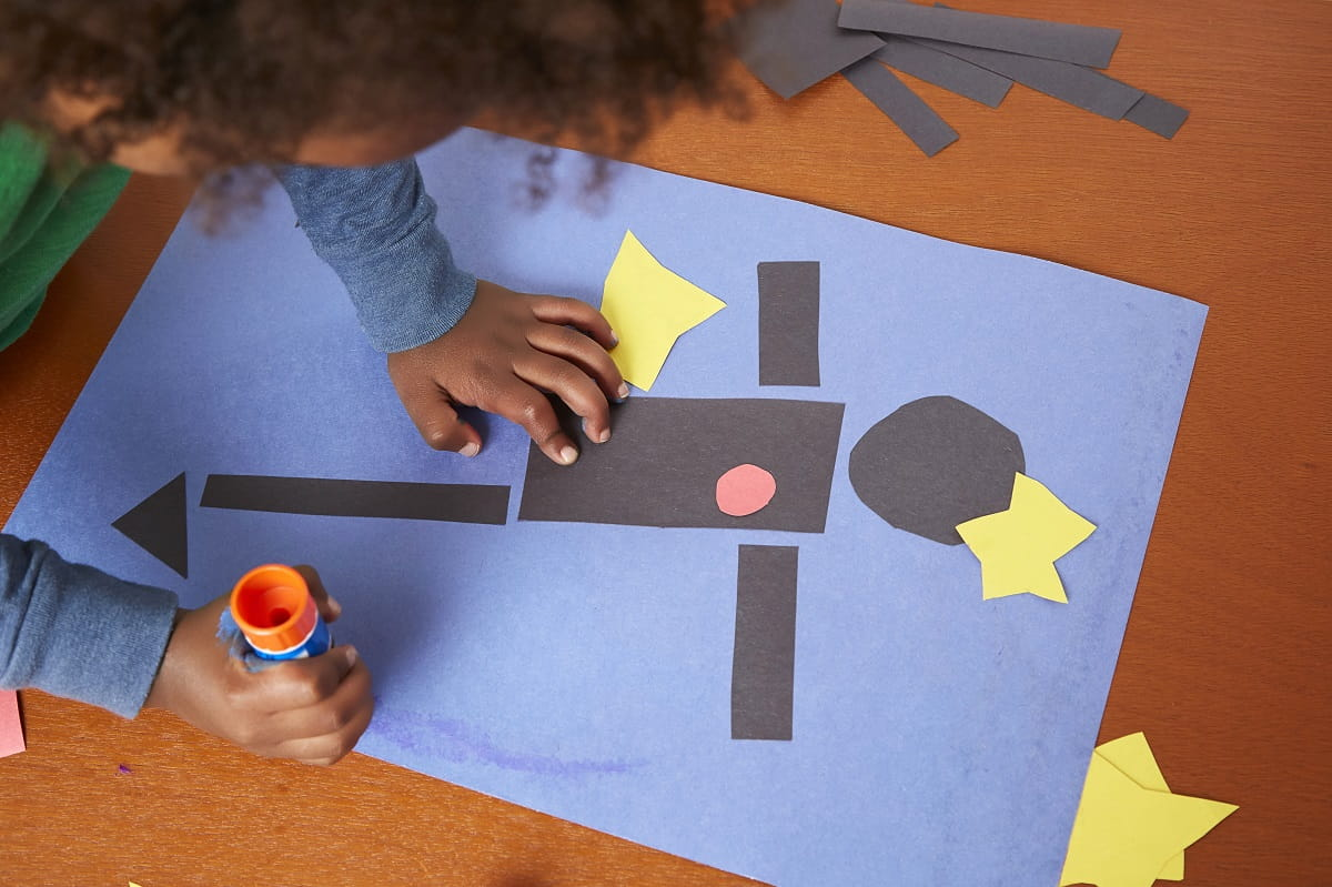 Overhead image of Matisse art construction paper