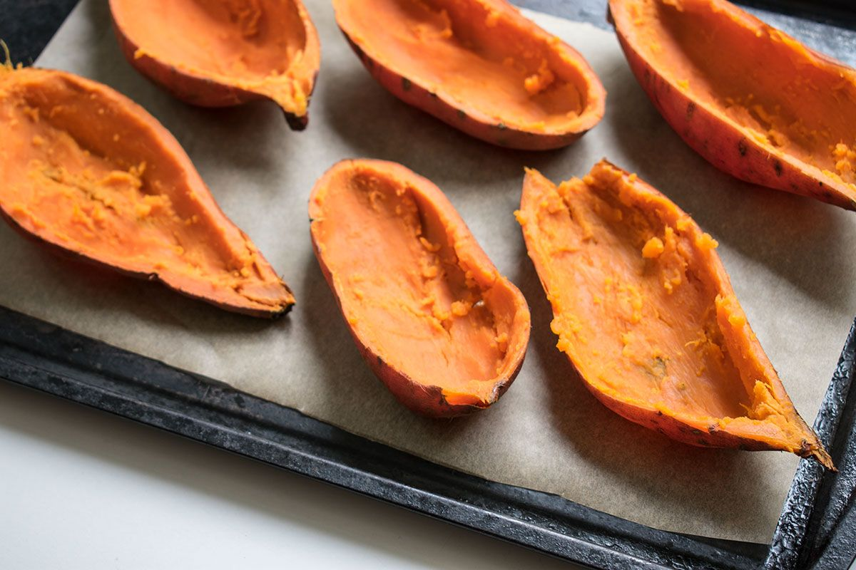 hollowed out sweet potato skins