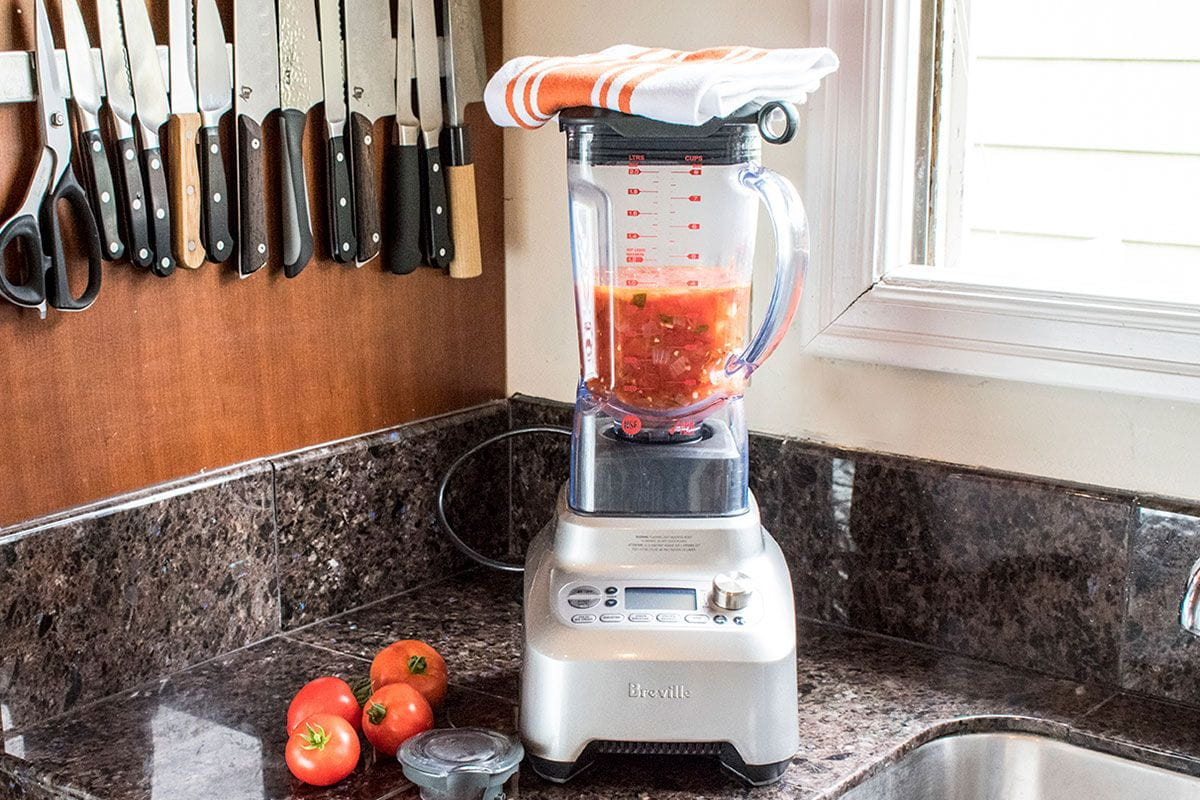 tomato mixture in a blender
