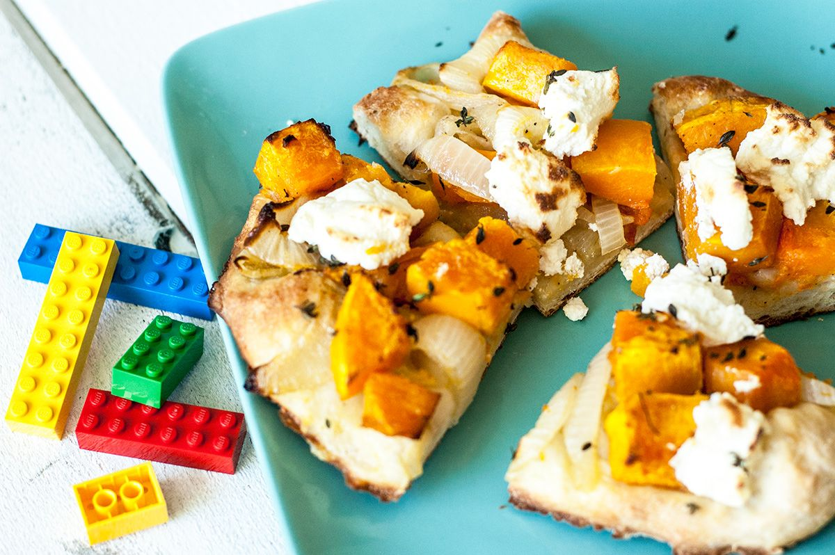 butternut squash pizza hero with legos