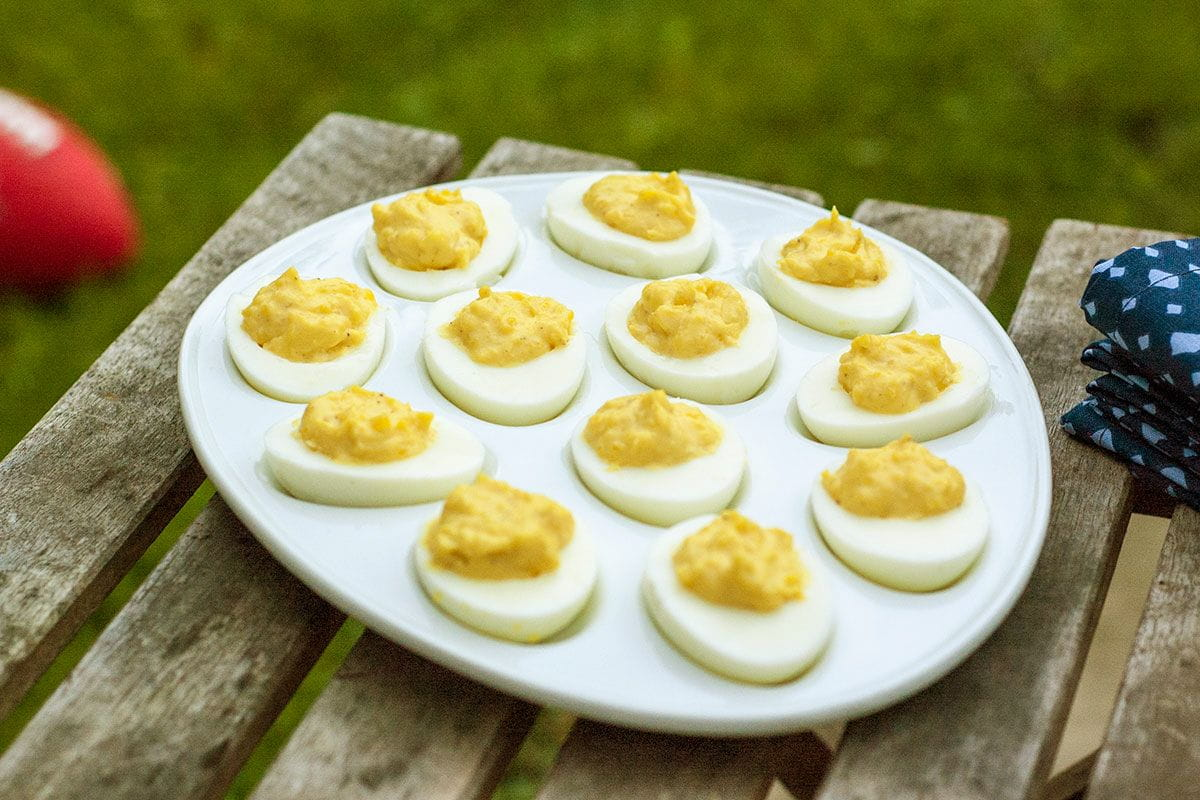 eggs on picnic table