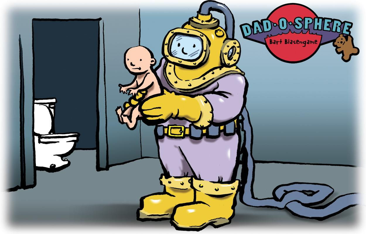 Illustration of dad in scuba gear taking baby to toilet