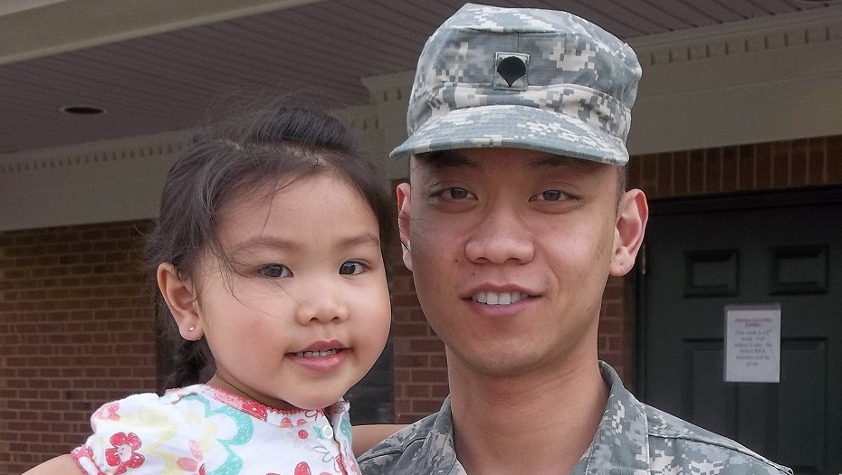 Military dad and daughter