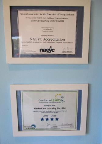 We are very proud of our NAEYC accreditation and 4 Star Great Start to Quality rating as they demonstrate our commitment to excellence in early childhood education!