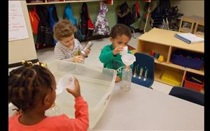 Water play is not only a great sensory activity but also helps develop math skills by using different measurement tools.
