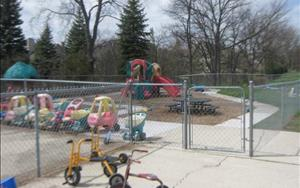 Our smaller fenced in infant and toddler playground allow for a safe outside environment.