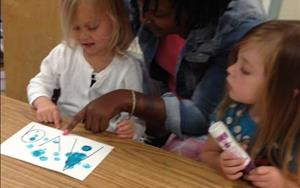 Miss Terra helps the children to recognize the letters in their name in our Preschool class.