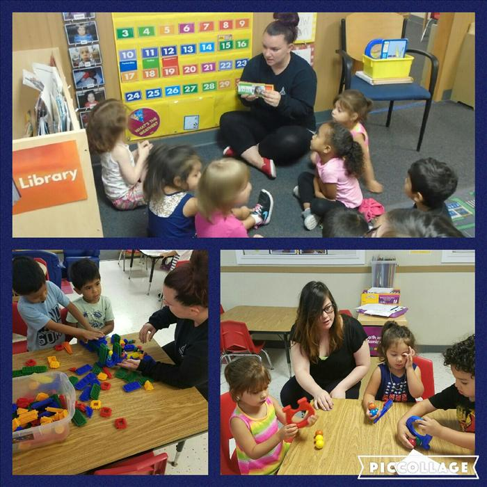In our Preschool classroom you can see Language and Literacy Development and Social and Emotional Development being developed in these pictures. Ms. Kristin is encouraging language development through name recognition during class time. Ms. Lily is showing the kids the value of teamwork by encouraging the preschooler to cooperate in a group activity.