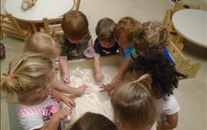Playing with sand- bringing the beach into the classroom :)