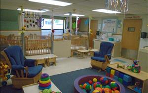 Infant B Classroom is for our mobile Infants that are getting ready to transition into the Discovery Preschool Classroom in the upcoming months. In this room, we have several push toys and large motor activites to keep your child engaged throughout the day.
