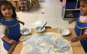 Discovery Preschoolers love painting clouds for the classroom!