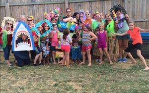 Everyone enjoying our end of summer LUAU!
