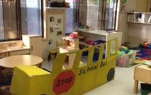 "Our two year olds made this bus during our ""Things that Go"" curriculum."