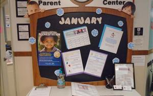 This is our lobby where you will find a parent sign in and out log.  We also include events going on in the center and resources to provide the best care for your child.