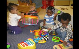 Playing musical instruments is just one of the ways the infants develop their own creative expression.