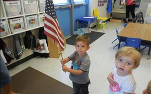 Our Discovery Preschool class learning about the Pledge of Allegiance