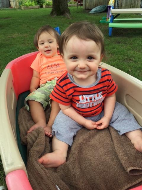 Tiny Tots enjoying a relaxing wagon ride in the beautiful weather.