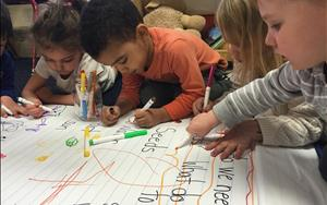 Preschoolers working on their writing and fine motor skills! Keep up the good work friends!!