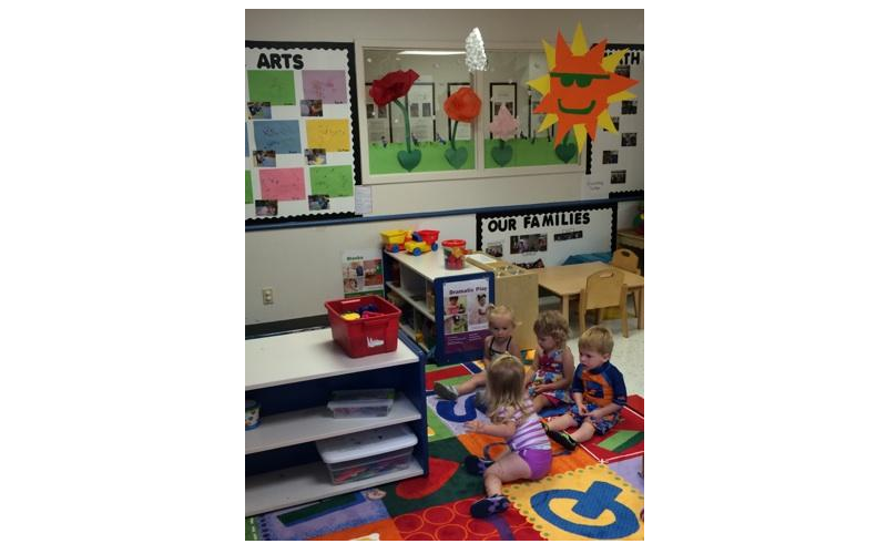 Toddlers are just leaning how to create relationships and play with others.  Through guidance and encouragement, we help toddlers feel safe and participate as part of a larger classroom community.