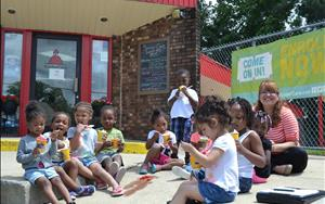 Our Preschool classroom enjoying Kona Ice!