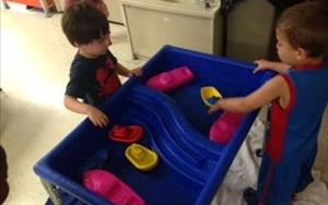 Floating boats in the Preschool room