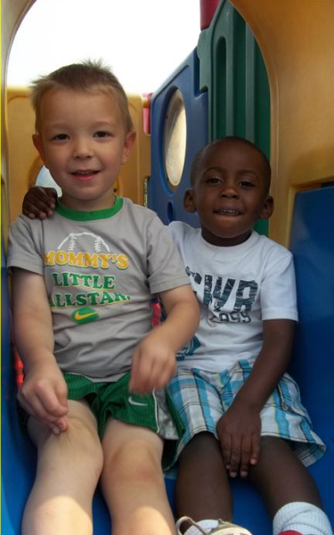 Friends, Clark and Davion, Play on the Jungle Gym