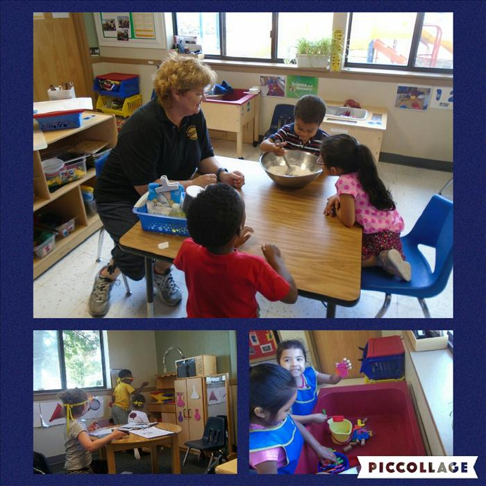 In our Multi-Age classroom you can see Cognitive Development being developed in these pictures. Ms. Joan is encouraging a higher-level of thinking skills through measurements while making play dough. Children have the desire to learn and our leaning centers give them every opportunity to do so.