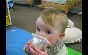 Casey exploring the smelly jars (Infant Room)