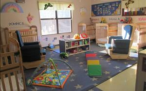 Our infant room is cozy and warm, bright and fun.