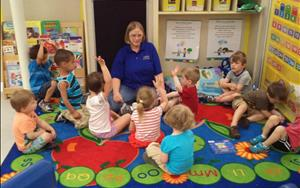 Ms. Val at group time in the Preschool Classroom