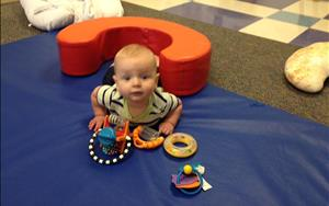 Tummy time allows our teachers to support each Infants gross motor and physical development.