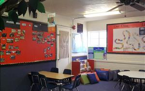 Our School age room, a place to read.