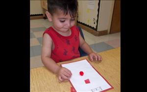 Toddlers learning about the color red