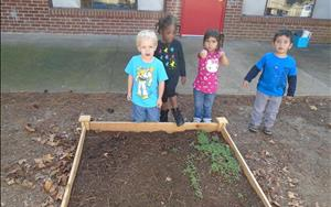 Preschoolers excited to see their garden growing!!