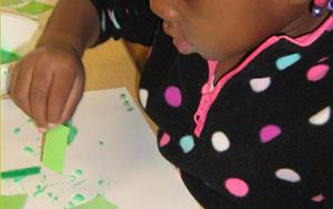 Discovery preschool made a green collage during their colors unit to practice using their creativity to make two-dimensional artwork!