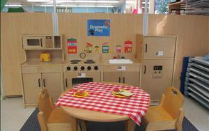Our Toddler classroom dramatic play area allows children to use a variety of materials and props to stimulate their creative thinking.