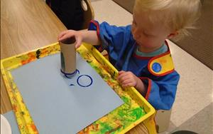 Our Toddlers explore and learn to express themselves creatively using a variety of materials.