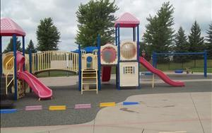 Larger playground.  For children 24months and older.  We also have bikes, basketball hoop, tire swing and play house.