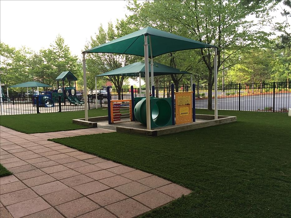 Our Infant playground is designed for babies of all ages with plenty of shade for the younger ones to lay and a small structure and sandbox for older ones to explore!