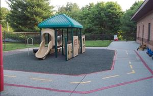 This playgound is for the Infants, Toddlers and Discovery Preschool classes to play and have fun with their friends.