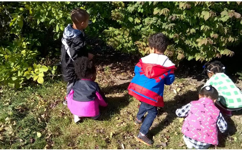 Exploring nature is just one of the ways that we help children understand the world around them. The Preschoolers are hunting for insects!