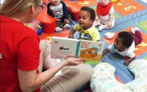 Our infants enjoy songs, stories, conversations, and so much more with their teachers during circle time.