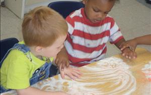 Shaving cream fun with the toddlers