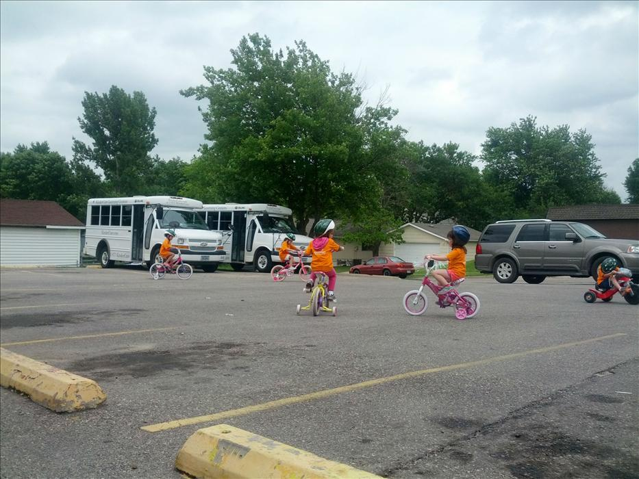 Safety Day - Families got to bring bikes to school and we got free helmets from Safe Kids Coalition.