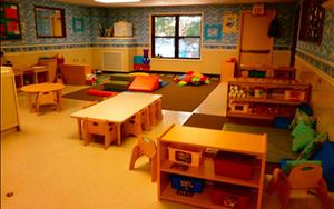 Our toddler room is arranged with learning centers so your child can begin to create and communicate all their new ideas.