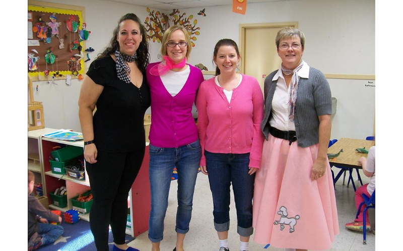 Teachers dressed for the 50th day celebration!