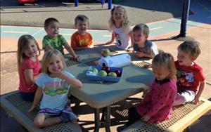It was a beautiful day to have a snack outside!